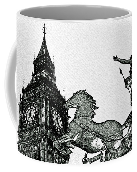 Charcoal Coffee Mug featuring the digital art Big Ben And Boudica Charcoal Sketch Effect Image by David Pyatt