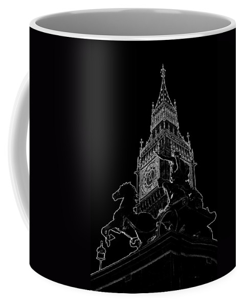 Boudica Coffee Mug featuring the digital art Big Ben And Boudica Statue by David Pyatt