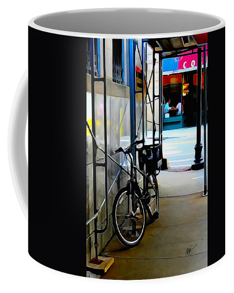 Bike Coffee Mug featuring the photograph Bike - Scaffold - Lunchers - Water Color Conversion by Mark Valentine