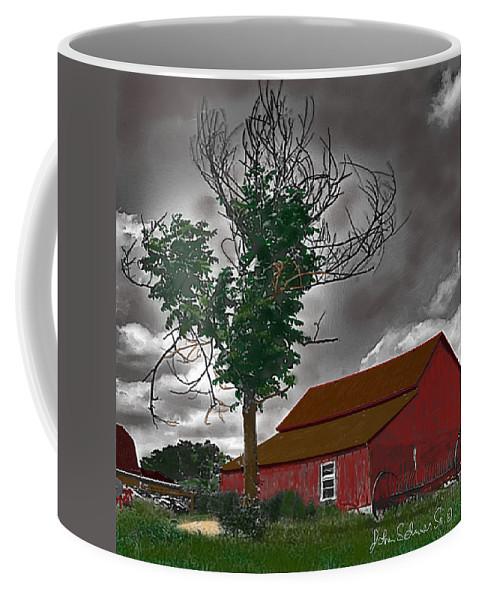 Barns Coffee Mug featuring the digital art Bills Barn  Red by John Selmer Sr