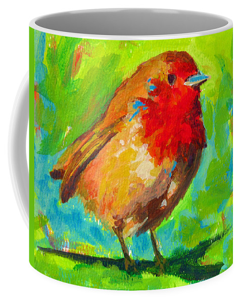 Bird Painting Coffee Mug featuring the painting Birdie Bird - Robin by Patricia Awapara