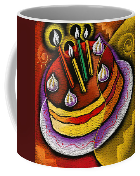 Art Product Birthday Birthday Cake Birthday Party Cake Candle Candles Celebration Cheerful Child Color Image Digitally Generated Image Event Happiness Happy Birthday Icing Illustration Illustration And Painting Illustration Technique Innocence Innocent Kids One Girl One Person Peach Strawberry Vertical White Background Decorative Art Abstract Painting Coffee Mug featuring the painting Birthday Cake by Leon Zernitsky