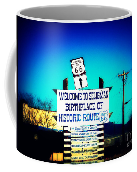 Welcome To Seligman Coffee Mug featuring the photograph Birthplace Of Route 66 by Susanne Van Hulst