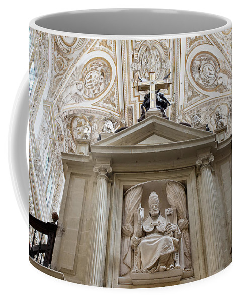 Mezquita Coffee Mug featuring the photograph Bishop Sculpture In Cordoba Cathedral by Artur Bogacki