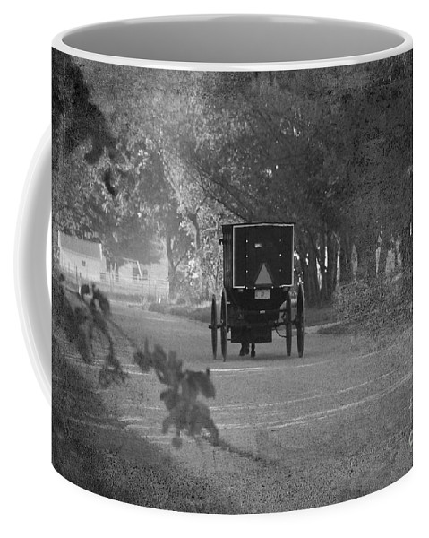 Amish Coffee Mug featuring the photograph Black And White Buggy by David Arment