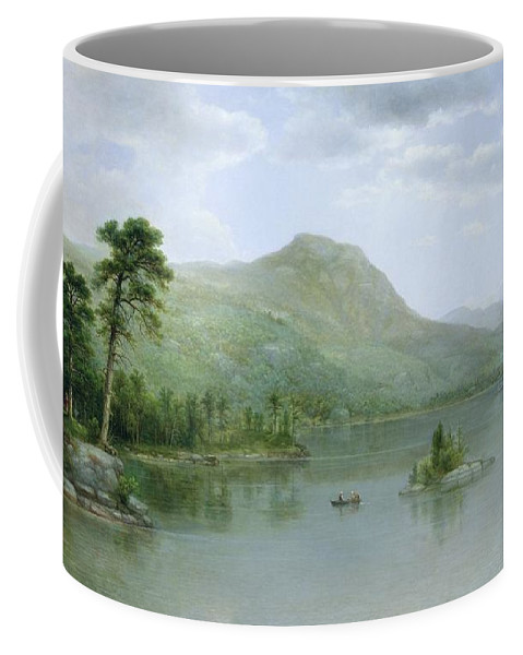 Harbour; American Landscape; View; Island; Rowing Boat; New England; Hudson River School; Coffee Mug featuring the painting Black Mountain From The Harbor Islands - Lake George by Asher Brown Durand