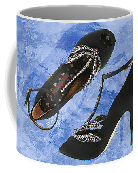 Shoes Heels Pumps Fashion Designer Feet Foot Shoe Stilettos Painting Paintings Illustration Illustrations Sketch Sketches Drawing Drawings Pump Stiletto Fetish Designer Fashion Boot Boots Footwear Sandal Sandals High+heels High+heel Women's+shoes Graphic Sophisticated Elegant Modern Coffee Mug featuring the painting Black Satin And Crystal Dragonfly Pumps by Elaine Plesser