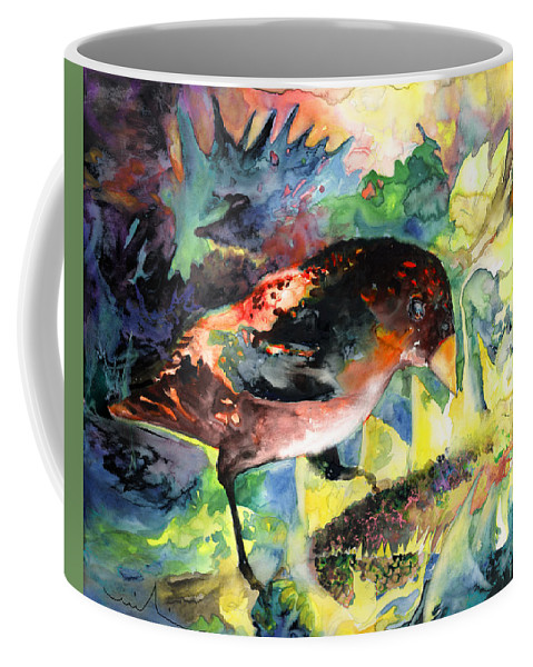 Birds Coffee Mug featuring the painting Blackbird With Sunflower by Miki De Goodaboom