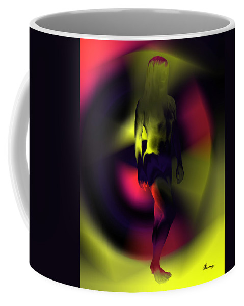 Rainbow Colors Nude Women Lady Abstract Naked Famous Saskatchewan Artist Yellow Pink Purple Model Beauty Coffee Mug featuring the photograph Blasted Rainbow by Andrea Lawrence
