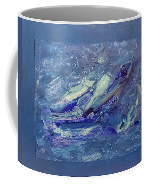 Coffee Mug featuring the painting Blue Abstract by Ronald Brischetto