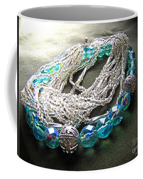 Beads Coffee Mug featuring the photograph Blue And Silver Bead Bracelet by Debbie Portwood