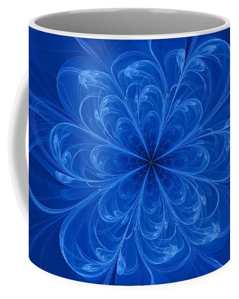 Fractal Coffee Mug featuring the digital art Blue Bloom by Sandy Keeton