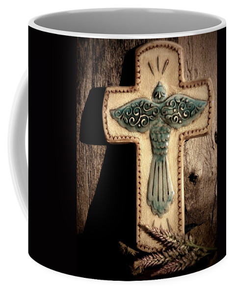 Crucifix Coffee Mug featuring the photograph Blue Dove by Chris Berry