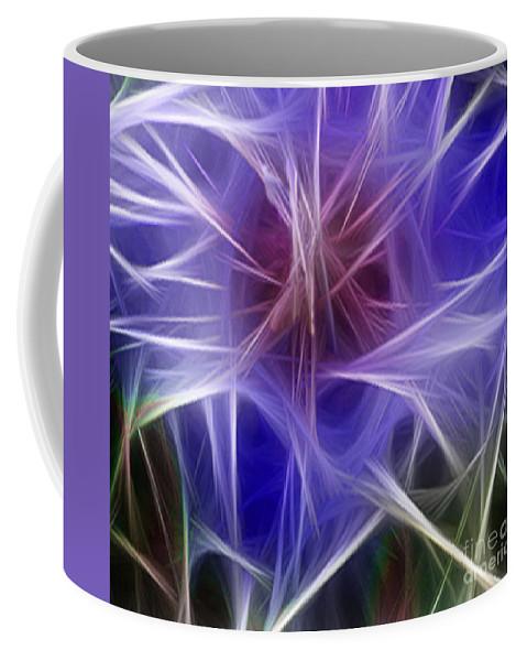 Blue Coffee Mug featuring the digital art Blue Hibiscus Fractal Panel 2 by Peter Piatt
