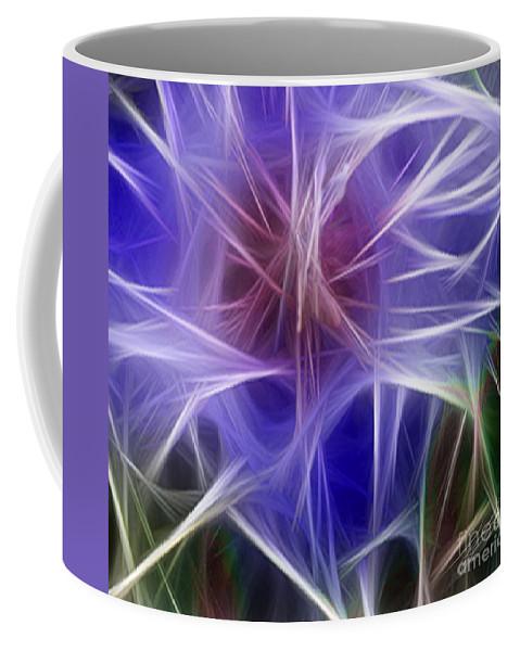 Blue Coffee Mug featuring the digital art Blue Hibiscus Fractal Panel 5 by Peter Piatt
