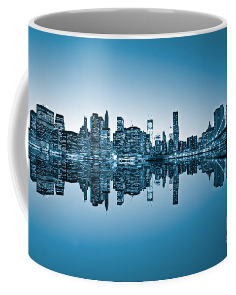 New York Coffee Mug featuring the photograph Blue New York City by Luciano Mortula