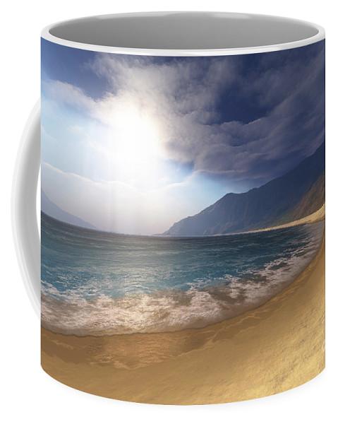 Beach Coffee Mug featuring the digital art Blue Seas And Radient Sun Shine In This by Corey Ford