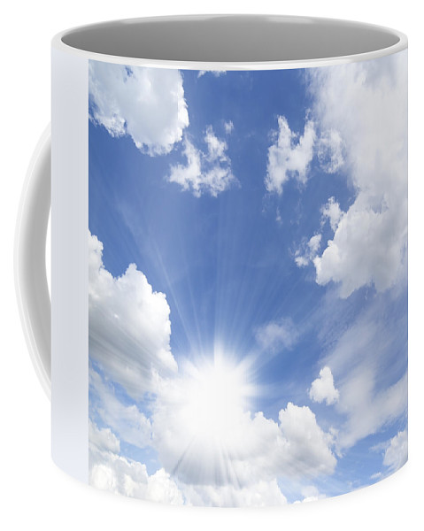Air Coffee Mug featuring the photograph Blue Sky And Sun Ray by Setsiri Silapasuwanchai