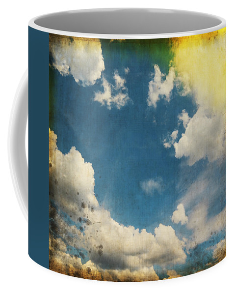 Abstract Coffee Mug featuring the photograph Blue Sky On Old Grunge Paper by Setsiri Silapasuwanchai