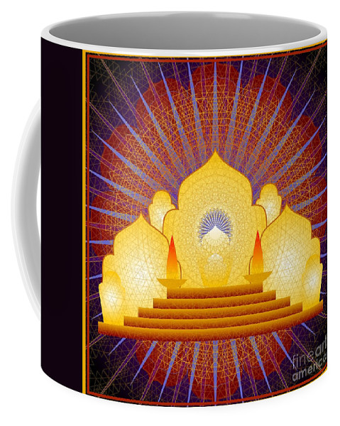 Digital Coffee Mug featuring the digital art Blue Sun Temple 2012 by Kathryn Strick