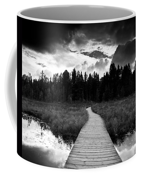 Black And White Coffee Mug featuring the photograph Boardwalk by Cale Best