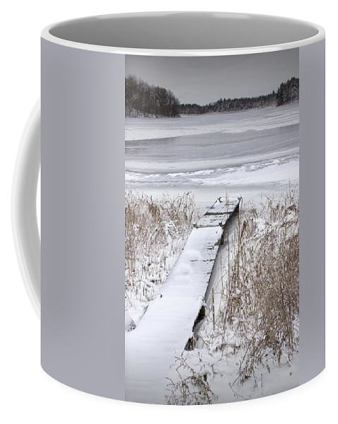 Art Coffee Mug featuring the photograph Boat Dock In Winter On A Lake No.0243 by Randall Nyhof