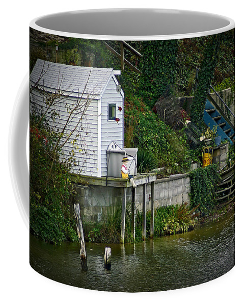 2d Coffee Mug featuring the photograph Boathouse Boy Fishing by Brian Wallace