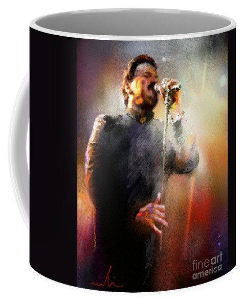 Musicians Coffee Mug featuring the painting Bobby Kimball From Toto 01 by Miki De Goodaboom