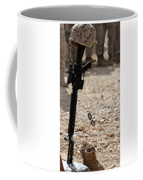Helmet, Rifle And Dog Tags Coffee Mug