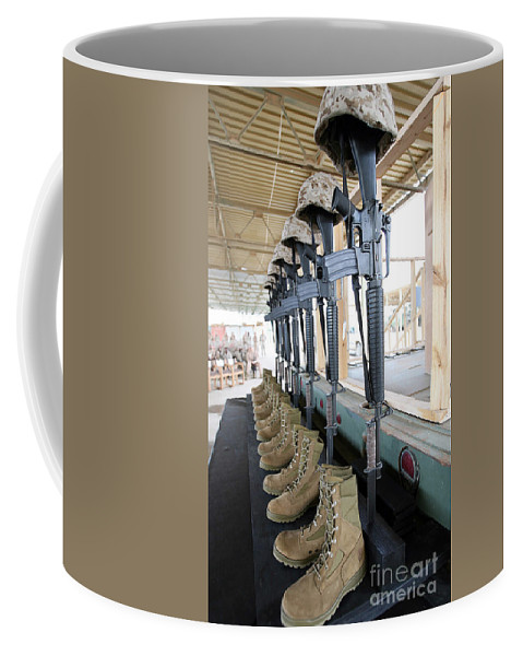 Bayonet Coffee Mug featuring the photograph Boots, Rifles, Dog Tags, And Protective by Stocktrek Images