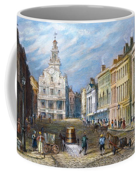 1837 Coffee Mug featuring the photograph Boston: State Street by Granger