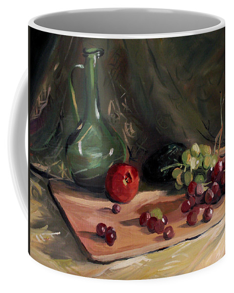 Still Life Coffee Mug featuring the painting Bottle Avacado and Grapes by Nancy Griswold