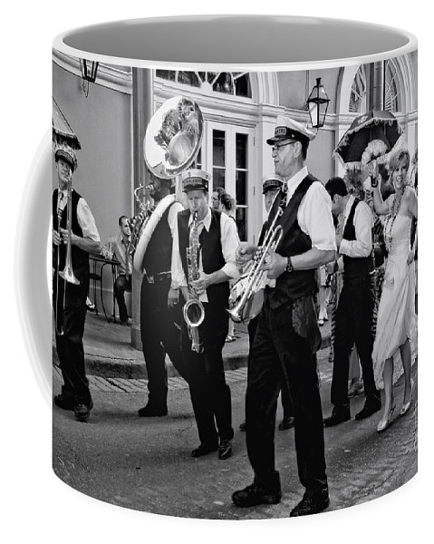 New Orleans Prints Coffee Mug featuring the photograph Bourbon Street Second Line Wedding New Orleans In Black And White by Kathleen K Parker