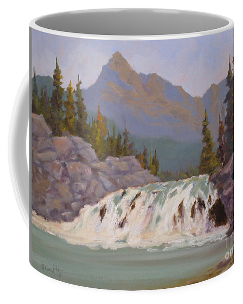Coffee Mug featuring the painting Bow Falls Banff by Mohamed Hirji