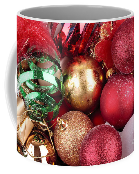 Background Coffee Mug featuring the photograph Box Of Christmas Decorations by Simon Bratt Photography LRPS