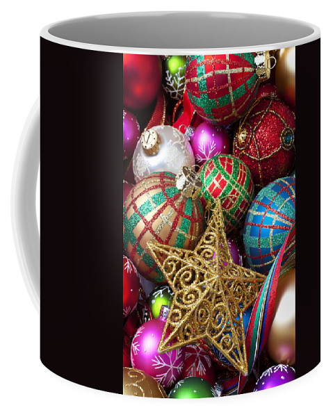 Colorful Ornaments Coffee Mug featuring the photograph Box Of Christmas Ornaments With Star by Garry Gay