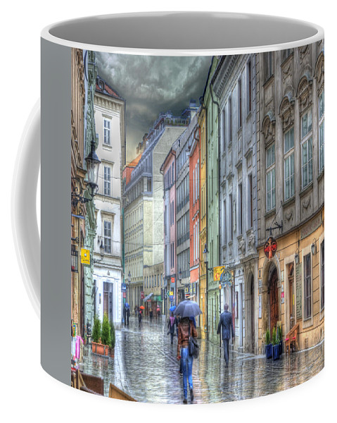Bratislava Coffee Mug featuring the photograph Bratislava Rainy Day In Old Town by Juli Scalzi