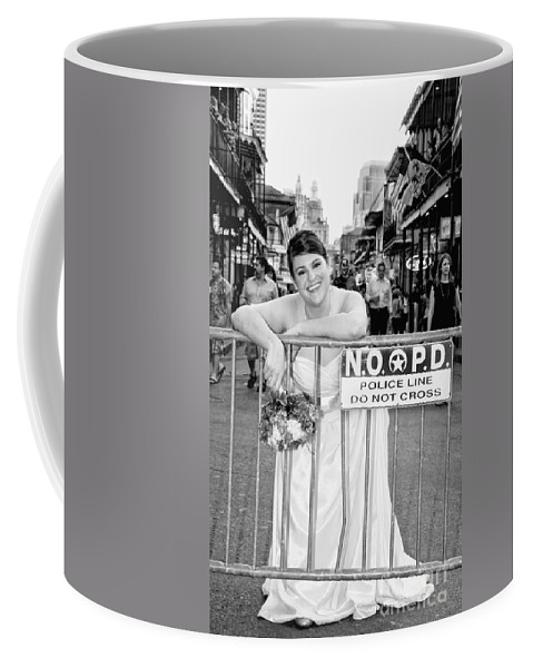 Bride Coffee Mug featuring the photograph Bride On The Barricade On Bourbon St Nola by Kathleen K Parker