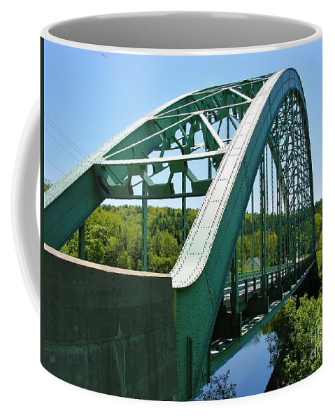 Suspension Bridge Coffee Mug featuring the photograph Bridge Spanning Connecticut River by Sherman Perry