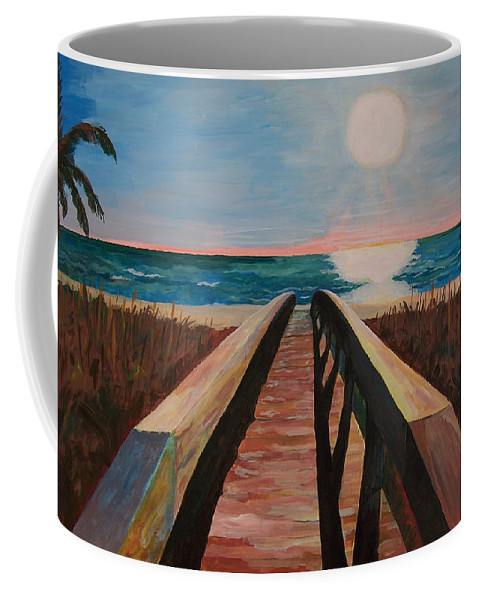 Painting Coffee Mug featuring the painting Bridge To Beach by Daniel Gale