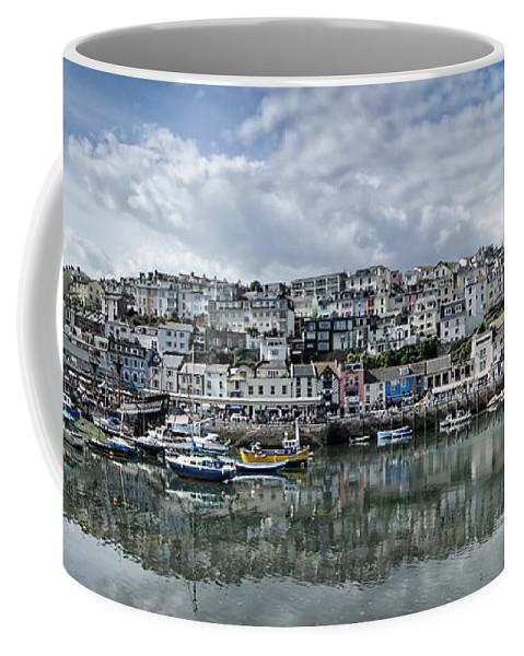 Brixham Coffee Mug featuring the photograph Brixham Harbour - Panorama by Ann Garrett