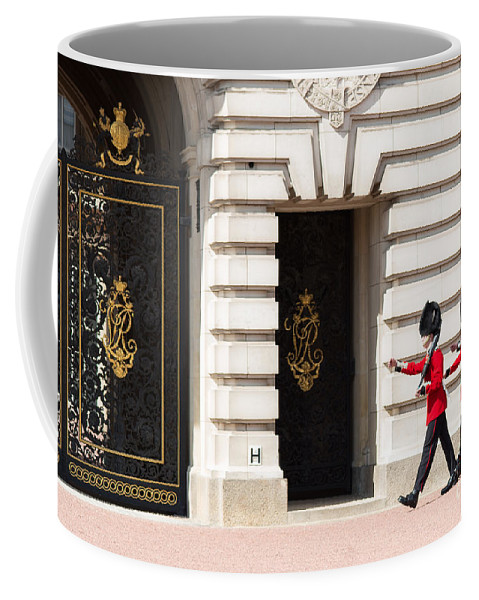 British Coffee Mug featuring the photograph Buckingham Palace Guards by Andrew Michael