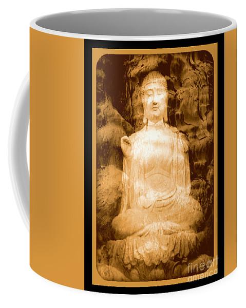 Buddha Coffee Mug featuring the photograph Buddha And Ancient Tree With Border by Carol Groenen
