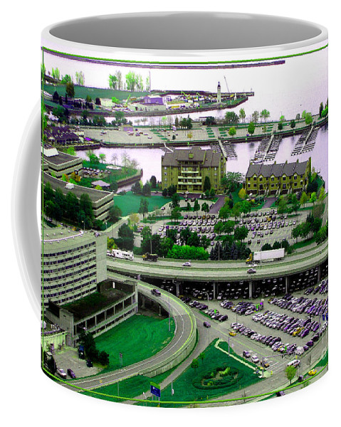 Buffalo Coffee Mug featuring the photograph Buffalo New York Waterfront Aerial View Ultraviolet Effect by Rose Santuci-Sofranko