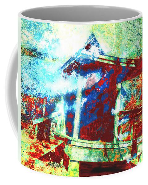 Cabin In The Fog Coffee Mug featuring the digital art Cabin in the Fog by Seth Weaver