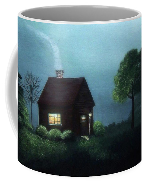 Cabin Coffee Mug featuring the painting Cabin In The Moonlight by Katie Slaby