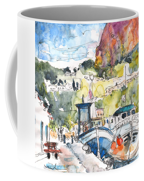 Travel Coffee Mug featuring the painting Calpe Harbour 05 by Miki De Goodaboom