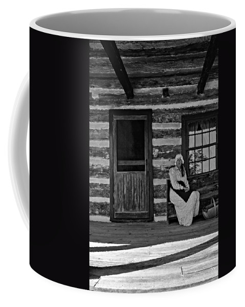 Grey Roots Museum & Archives Coffee Mug featuring the photograph Canadian Gothic Monochrome by Steve Harrington