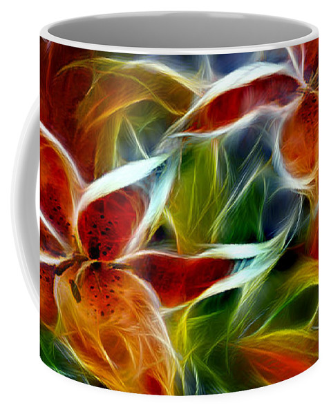 Candy Lily Coffee Mug featuring the digital art Candy Lily Fractal by Peter Piatt