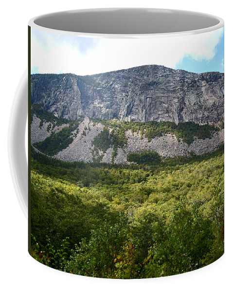 Franconia Notch Parkway Coffee Mug featuring the photograph Cannon Cliff from Boise Rock New Hampshire by Nancy Griswold
